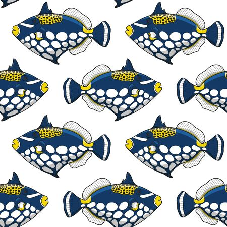 Seamless pattern with clown triggerfish fish. Vector tropical background on white.