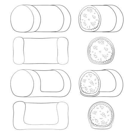Set of black and white illustrations with punschrulle, dammsugare. Isolated vector objects on a white background. Illustration