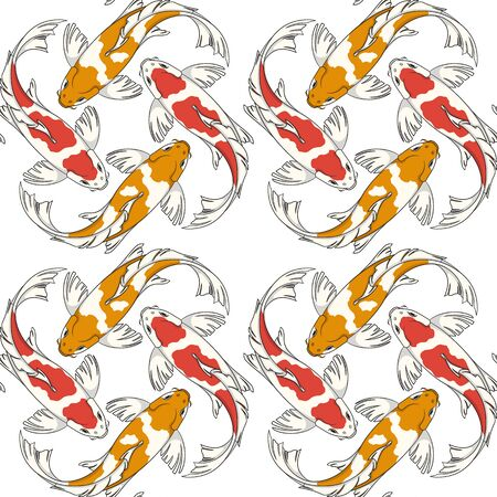Seamless pattern with red and orange koi fish carps. Colored vector background. Illustration