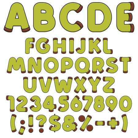 Alphabet, letters, numbers and signs of green punschrulle, dammsugare. Isolated vector objects on a white background.