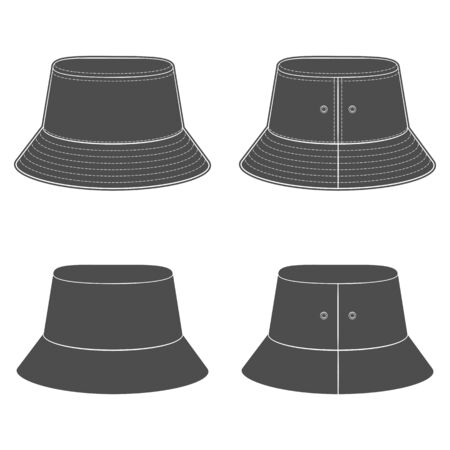 Set of black and white silhouettes with a panama hat. Isolated vector objects on a white background.