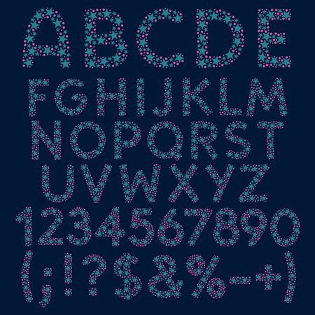 Alphabet, letters, numbers and signs from blue stars and pink circles. Isolated vector objects.