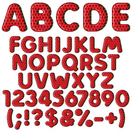 Inflatable alphabet, letters, numbers and signs in color watermelon. Set of colored isolated vector objects on white background.