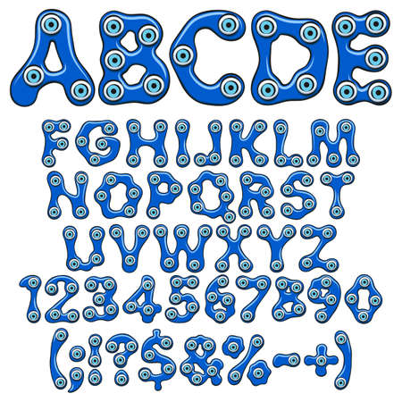 Alphabet, numbers and signs with the amulet of the eyes of fatima, blue eye, nazar. Isolated vector objects on a white background.