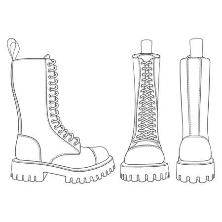 Set of black and white illustrations with boots, high boots with laces. Isolated vector objects on white background.