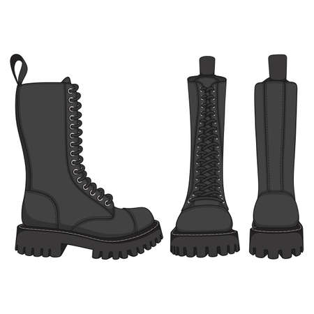 Set of color illustrations with black boots, high boots with laces. Isolated vector objects on white background.