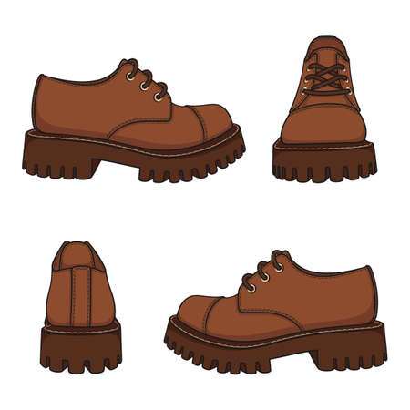 Set of color illustrations with brown shoes, boots. Isolated vector objects on white background.