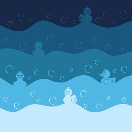 Background with toy ducks and bubbles. Colored vector illustration in blue tones.