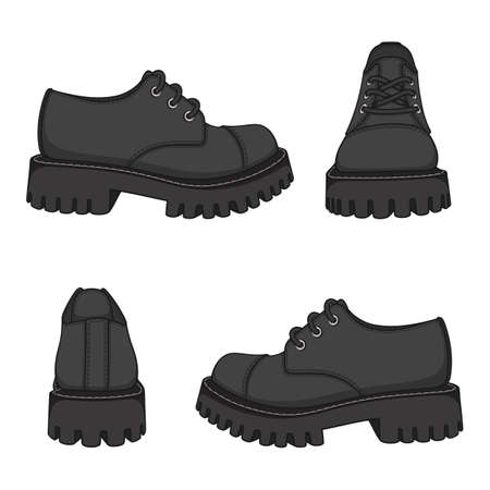Set of color illustrations with black shoes, boots. Isolated vector objects on white background.