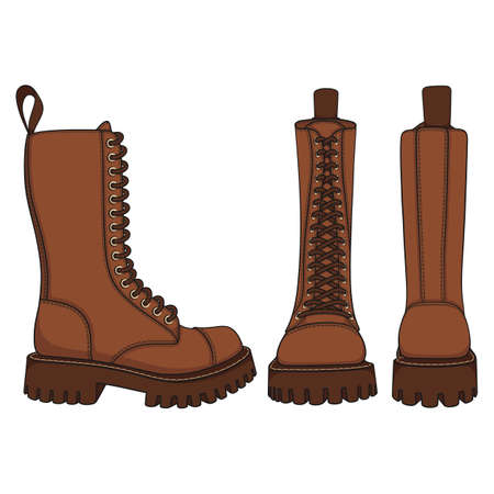 Set of color illustrations with brown boots, high boots with laces. Isolated vector objects on white background. Ilustración de vector
