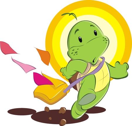 Slowly turtle. Illustration