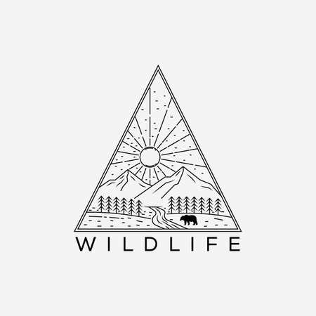 wildlife line art logo vector illustration design. minimalist nature, mountain, bear outline Logos