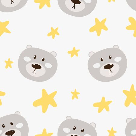 Cute Baer with Stars Seamless pattern