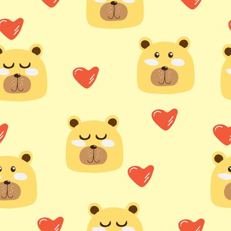 Cute Bear With heart Seamless Pattern