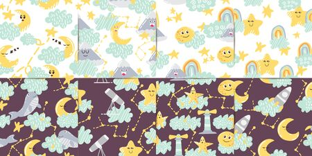 Set Of Seamless Patterns Moon and Stars