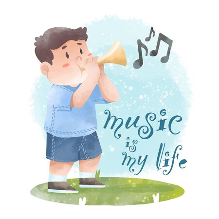 Cute child with music vector illustration watercolor style 向量圖像
