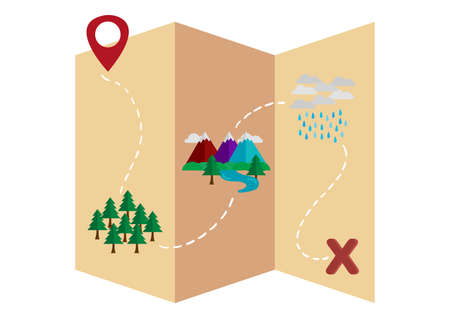 Treasure map illustration with forests, mountains and rivers and thunderstorms