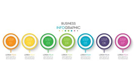 Business infographic. Timeline data visualization with step, number, or option design template. Vector Illustration Çizim