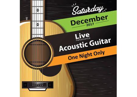 Acoustic Guitar Poster Template Ilustração