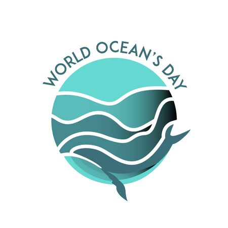 World oceans day with paper cut whale vector illustration for celebration holiday