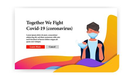 together we fight covid 19 banner template with male character illustration take surgery mask