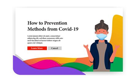 How to prevention methods from covid 19 with female character and surgery mask banner template