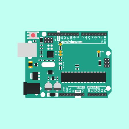 Vector graphic of Arduino Uno with Green PCB Design 일러스트