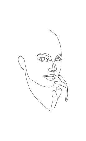 Continuous single line drawing vector of a beautiful young woman close up face  イラスト・ベクター素材