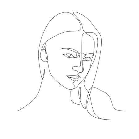 Continuous single line drawing vector illustration of a beautiful young woman with long hair pose looking at the camera