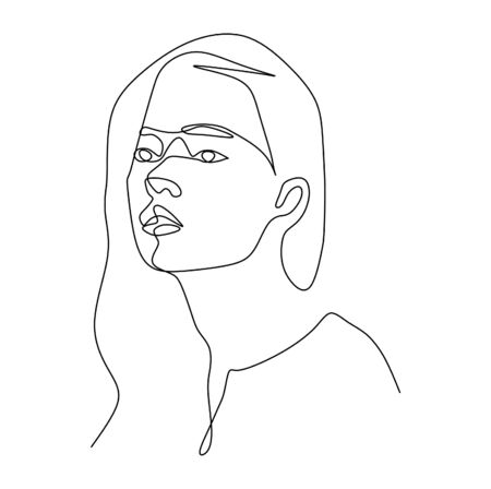 Continuous single line drawing vector of a young woman with long hair close up face  イラスト・ベクター素材