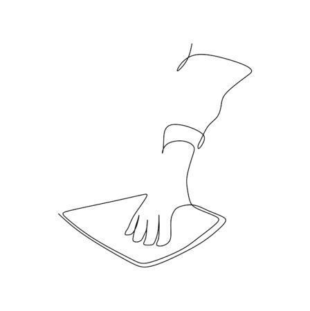Continuous one line art vector illustration of cleaning and sanitizing the desk