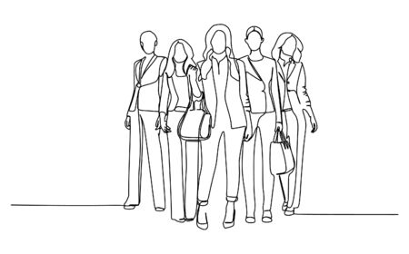 Group of businesswomen standing with confident. Continuous single line drawing vector illustration Vectores