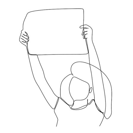 Young woman protesters rises a poster. Continuous single line vector illustration