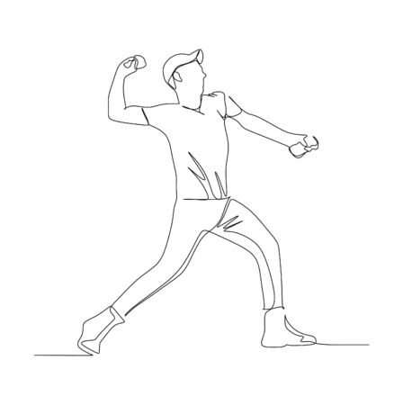 A young man trying to throw a stone or rock while protest. Continuous single line drawing vector illustration Vectores