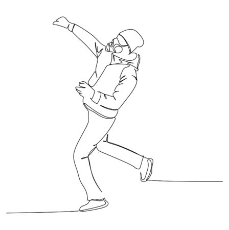 A young man trying to throw a stone or rock while protest. Continuous single line drawing vector illustration