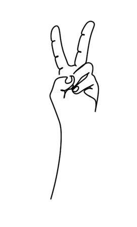 Continuous single line drawing of raising two fingers up as Peace Sign Hand isolated in white background - Vector illustration.