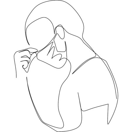 A man feeling a paint full dizziness headache a symptom of virus infection. Continuous single line vector illustration