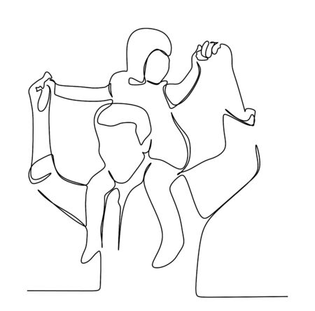 Young girl piggyback riding his dad.Continuous one line drawing art vector illustration