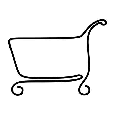 continuous one line drawing of a cart shop trolley. Vector illustration Vektorové ilustrace