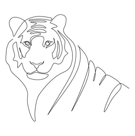 continuous one line drawing of a tiger's head looking at the camera. Vector illustration