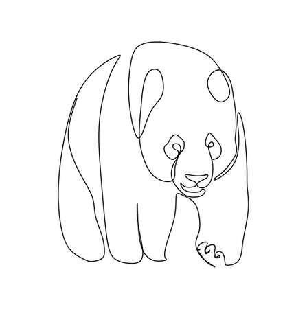 continuous one line drawing of a giant panda walking. Vector illustration