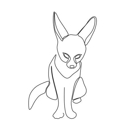 continuous one line drawing of a fennec fox sitting. Vector illustration Illusztráció