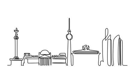 Skyline Continuous One Line Drawing, Vector Illustration
