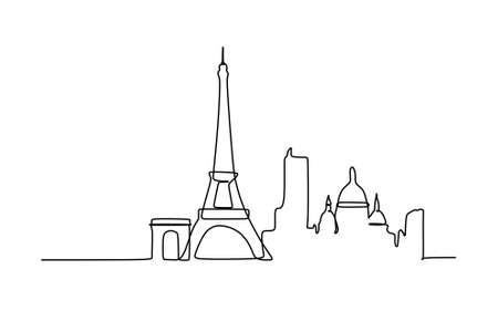 Paris Skyline - Continuous One Line Drawing - Vector Illustration
