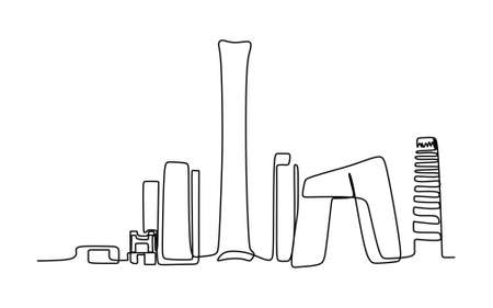 Beijing Skyline continuous One Line Drawing - Vector Illustration