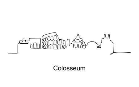 Colosseum continuous one line drawing. Vector illustration