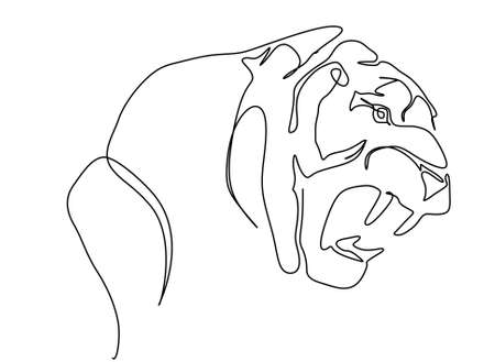 Continuous one line drawing of a tiger showing its fangs and get ready to pounce the prey. Vector illustration