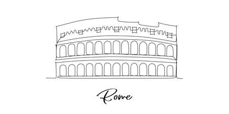 Rome of Italy landmarks skyline - Continuous one line drawing