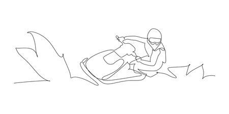 Unidentified sportsmen practice races on aquabike - continuous one line drawing Vecteurs