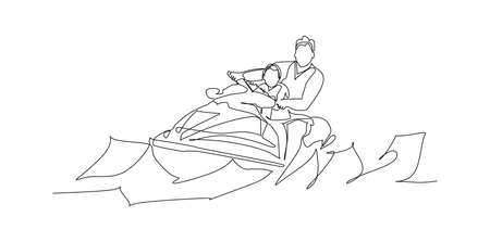happy, excited family, father and son having fun on jet ski at summer vacation - continuous one line drawing Vecteurs